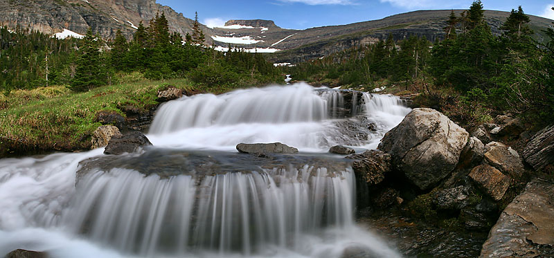 """Glacier National Park - Glacial Falls <BR><BR>Want to buy a print of this image?  Click <a href=""""http://www.langfordphotography.com/For-Sale/New-Site-Panormaics/9004552_h7zw9H"""">Here</a>!"""