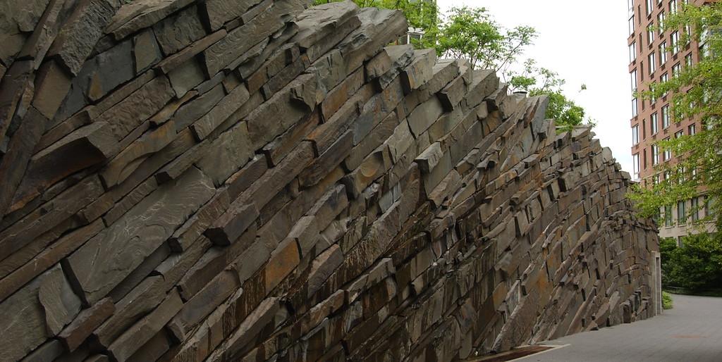 Layered retaining wall at Teardrop Park, Manhattan