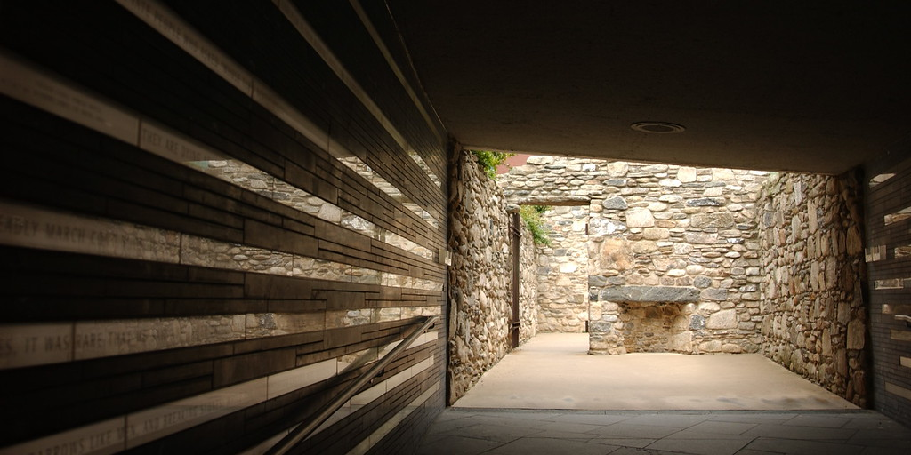 Wall of Irish Hunger Memorial Garden in Manhattan - a monument to those who perished in An Gorta Mór (The Great Hunger)
