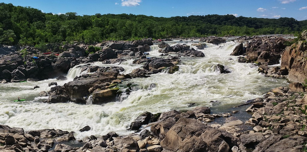 Panoramic scene from the Great Falls of the Potomac - from Maryland, looking towards Virginia