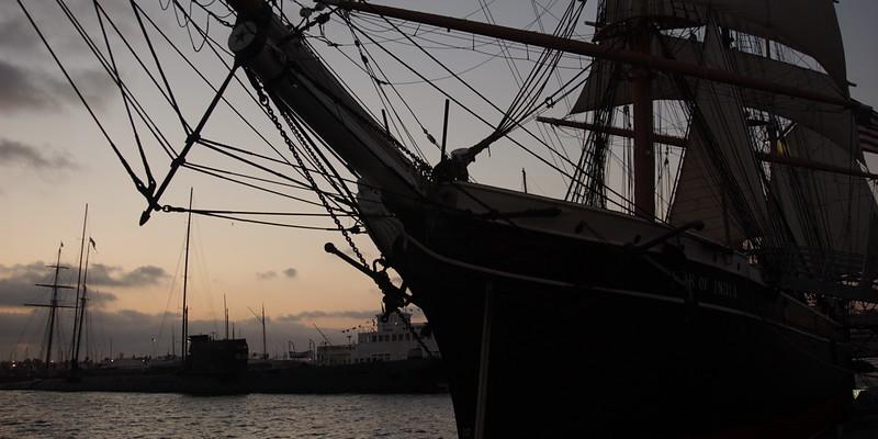 Old sailing vessel in San Diego harbor