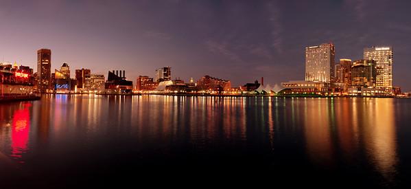 Legg Mason Building, Baltimore Inner Harbor, Maryland A 10 image panorama taken at twilight.