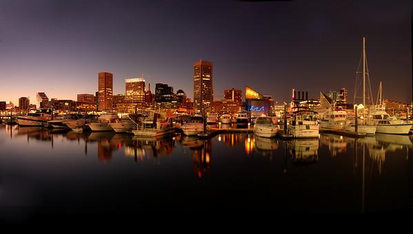 Baltimore Inner Harbor, Maryland A 10 image panorama