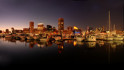 Baltimore Inner Harbor, Maryland A 10 image panorama