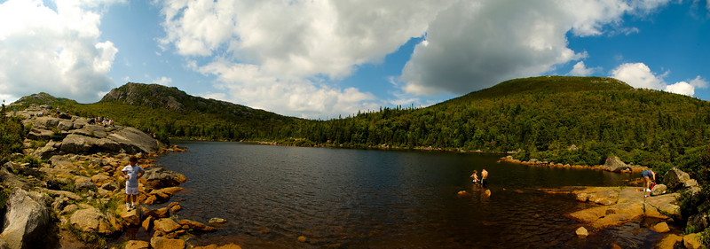 Tumbledown Mountain Pond and Summit panorama.   Hover cursor over photo to be offered the menu to enlarge and see it in its fuller size.  All panoramas are $100.00, unmatted.  Matted option not available.