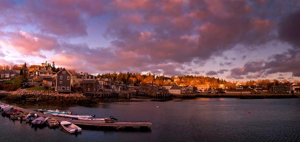 November Sunset over Stonington Harbor, Maine