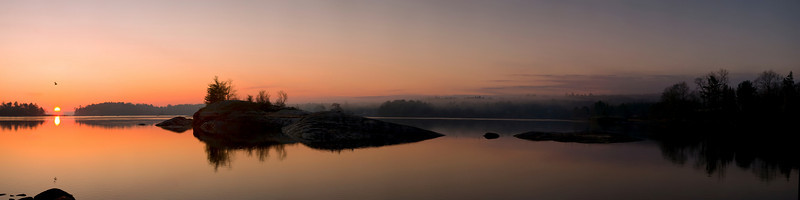 Sunrise on Blue Hill Bay, Thanksgiving Day, 2008, Blue Hill, ME. I awoke to beautiful rosy dawn light on the walls of the house I was staying in over Thanksgiving, and went down to the shore to take this 16 image panorama of the bay.
