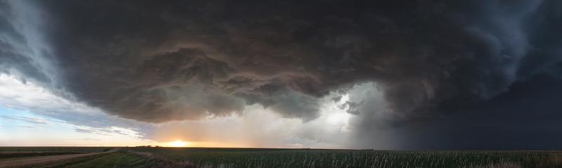 Ness City, Kansas - Supercell at Sunset Panoramic - 5-07-13