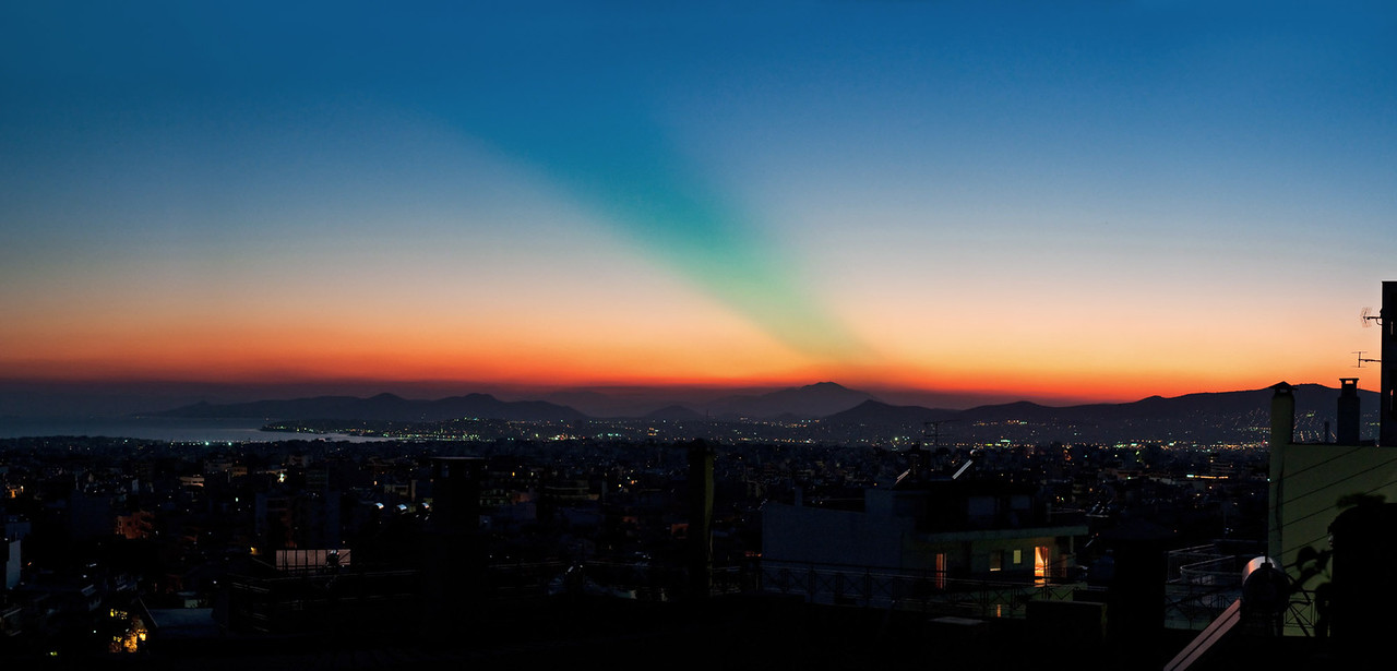 <b><font>Athens | Greece</font></b> The green ray at dusk really exists! View from my house...