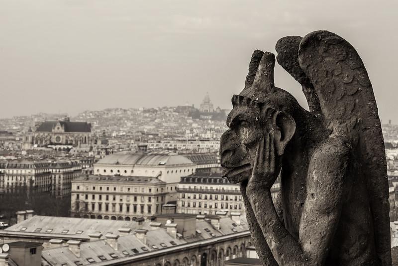 Gargoyle on Top of Notre Dame (Paris, France)