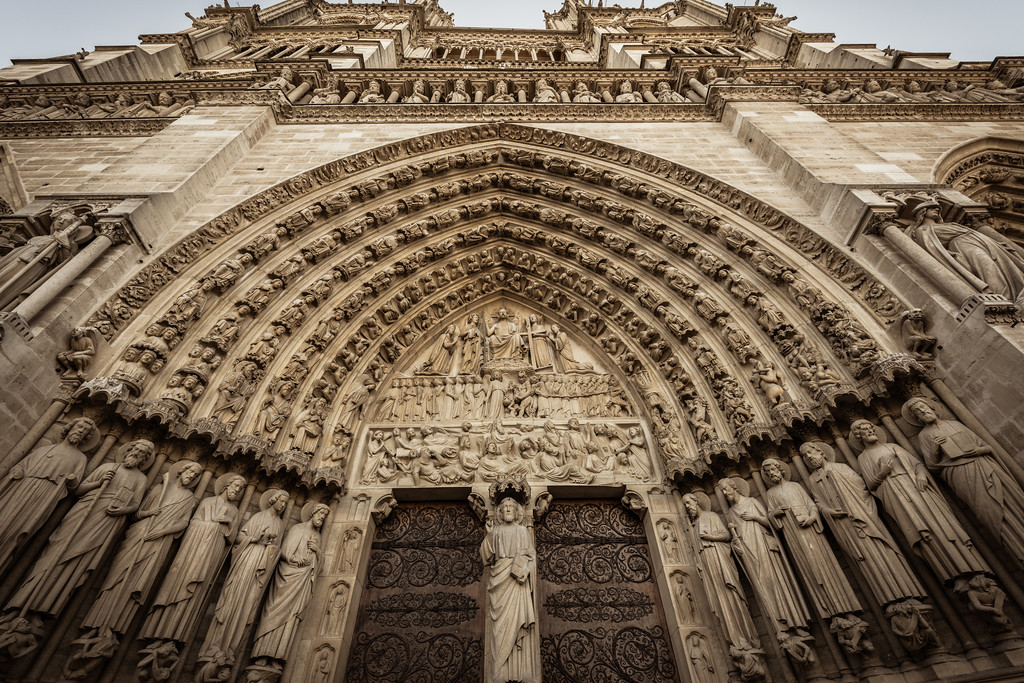 Facade at the Notre Dame Cathedral (Paris, France)