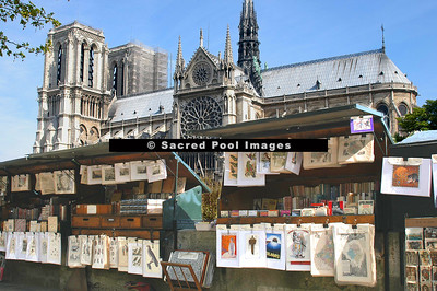 Book Stalls Along the Seine With Notre Dame In The Background