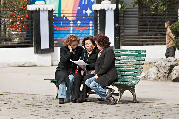 7) Three Women Singing on Bench