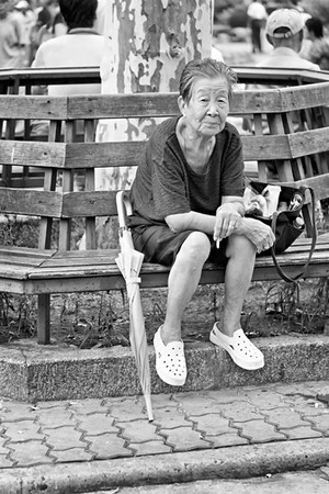 44) 	Old Women on Bench BW