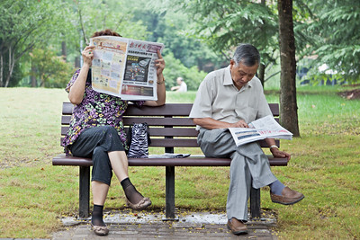 6) Man Women Newspaper TaiChi Bench