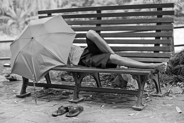 39) 	Asleep on Bench BW Ver 2