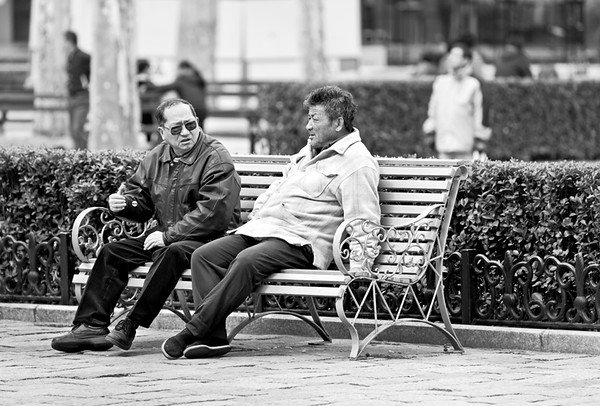 45) Two Men on Bench