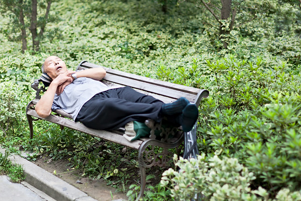 17) 	Asleep On Bench