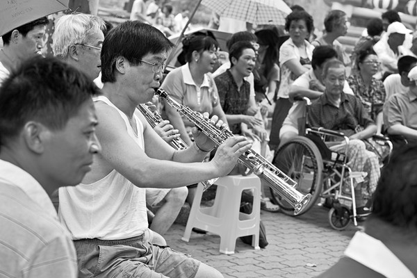 10) 	Group Singing in Park 3 BW
