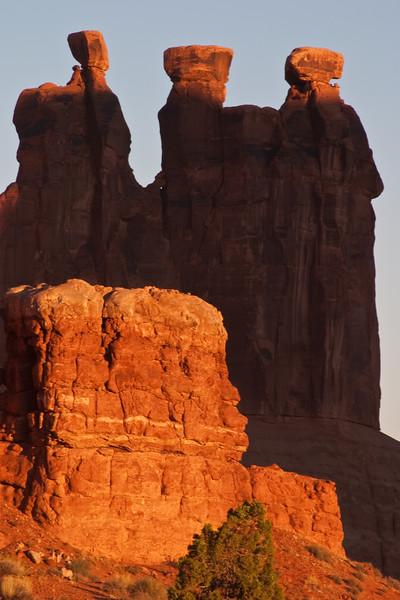 Sunrise in Arches National Park in Utah.