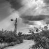 Windmill and sun rays in Big Bend National Park,