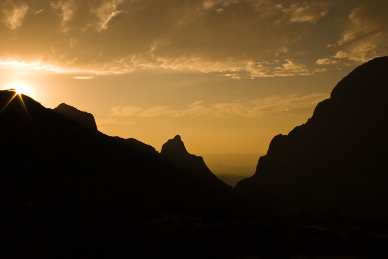 Sunset at The Window at Chisos Basis in Big Bend National Park, with unusual cloud formations.