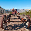Old Wagon and Cotton Gin Steam Engine on display at Castolon Historic District in Big Bend National Park.