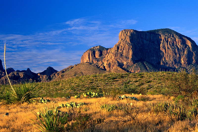 Chisos Mountains at sunrise in Big Bend National Park in Texas.