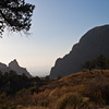 """Sunset view of the """"Window"""" in the Basin area of Big Bend National Park in Texas. The view through a gap in the Chisos Mountains to the valley below is famous."""
