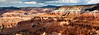 Panorama of red cliff formations in Cedar Breaks National Monument in Utah, at greater than 10,000 feet in altitude.