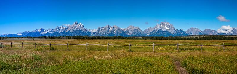 Panorama of Grand Tetons Mountain Range in the Grand Tetons National Park in Wyoming.