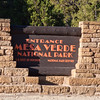 Sign at Mesa Verde National Park in Colorado. Mesa Verde was designated a National Park in 1906 to protect the well-preserved Cliff Dwellings for which it is famous. The park is also a UNESCO World Heritage Site.