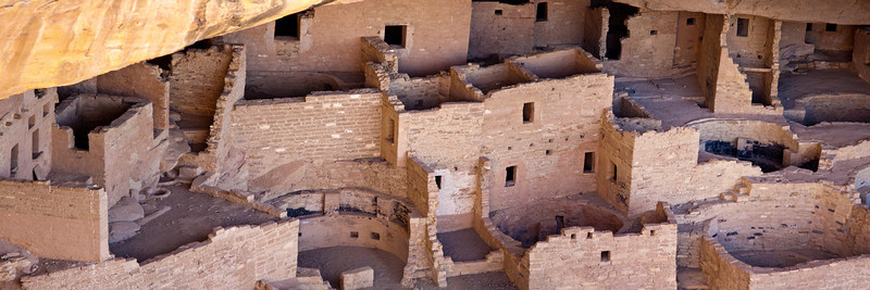 Panorama of Cliff Dwellings in Mesa Verde National Park in Colorado.