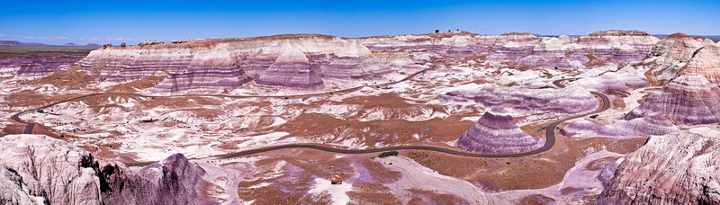 Panorama of the Blue Mesa area of the Painted Desert in Petrified Forest National Park in Arizona.