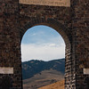 Famous Gate at Northwestern Entrance (at Gardiner, Montana) to Yellowstone National Park.