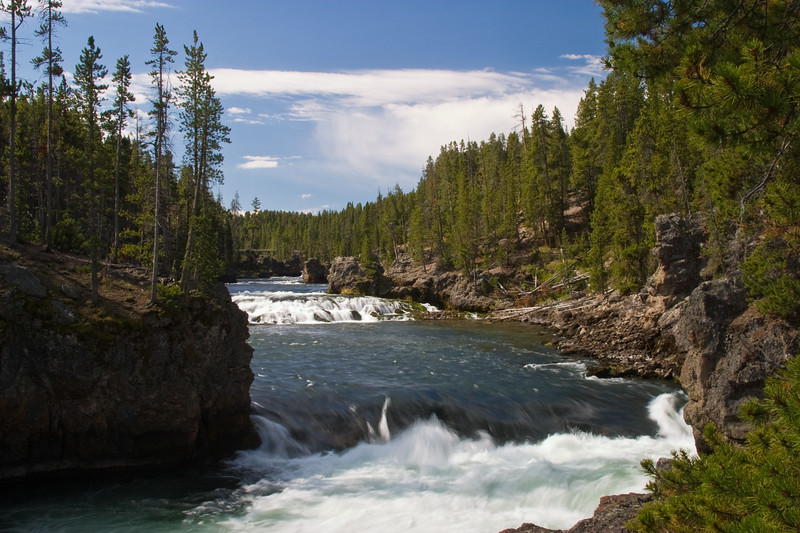 """Yellowstone River in the """"Grand Canyon of the Yellowstone"""", in Yellowstone National Park, Wyoming."""