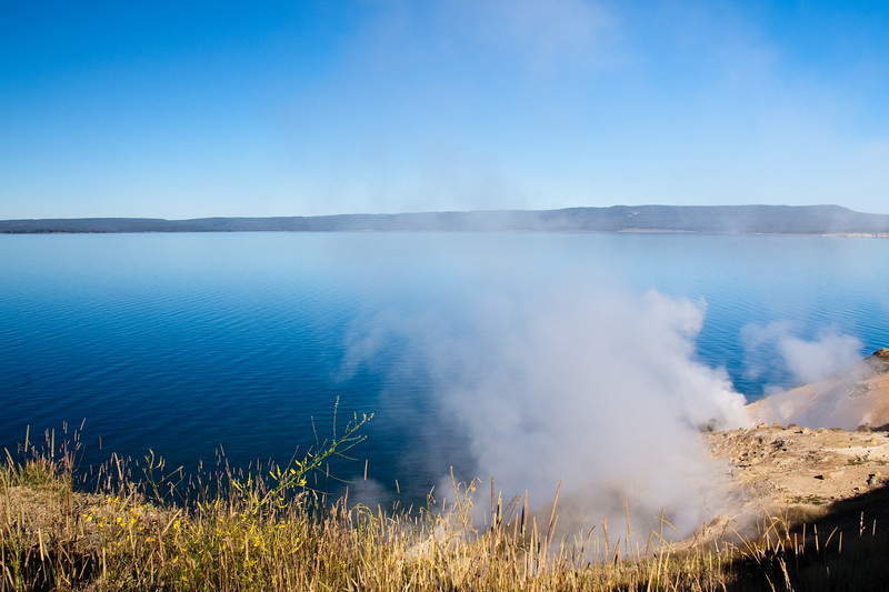 Yellowstone Lake is the largest body of water in Yellowstone National Park, The lake is 7,732 feet above sea level and covers 136 square miles with 110 miles of shoreline. While the average depth of the lake is 139 feet, its deepest spot is at least 390 feet. Yellowstone Lake is the largest freshwater lake above 7,000 feet in North America