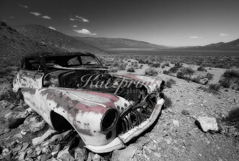 An old car is decaying near the Aguereberry mine and homestead in Death Valley National Park.