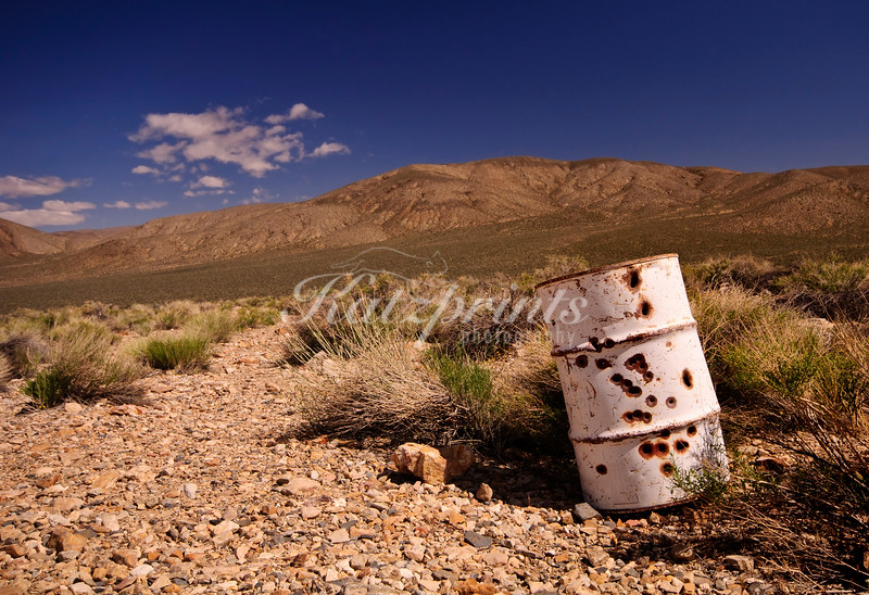 One of the many items left behind at the Eureka mine in Death Valley National Park is this white barrel which was obviously used as a target at some point.