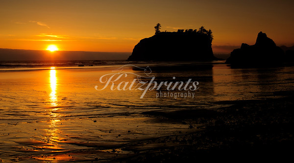 The sun sets at Ruby Beach in Olympic National Park, painting the sand in a variety of golden hues.
