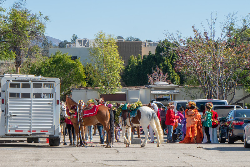 The equestrian staging area after the Rose Parade