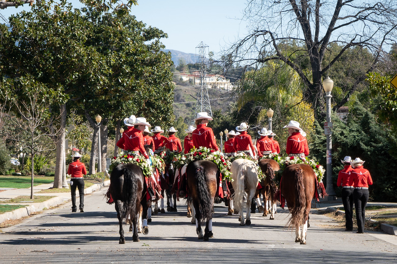 The Calgary Stampede Showriders on a Pasadena residential street after the Rose Parade