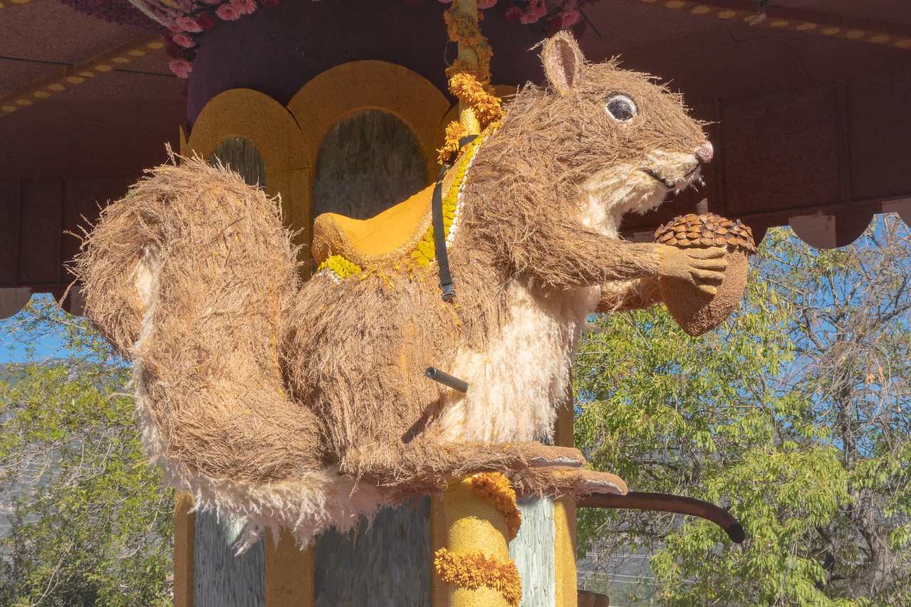 Squirrel, one of the carousel animals on the Farmers Insurance float.