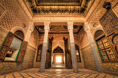 Grand interior of a crumbling Kasbah