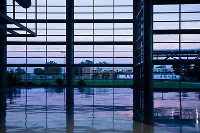 Dusk view through window at Kentucky Exposition Center