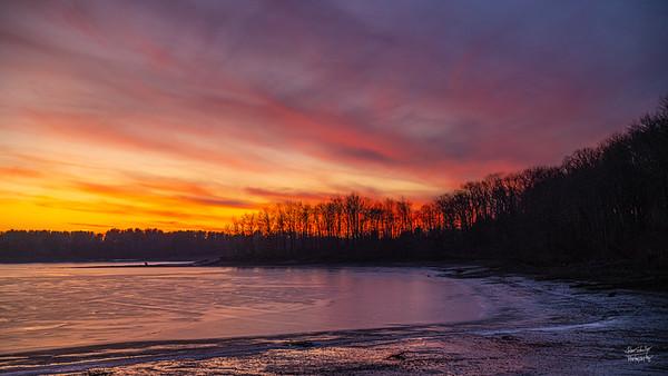 Christmas Sunset Over Shenango Reservoir #3