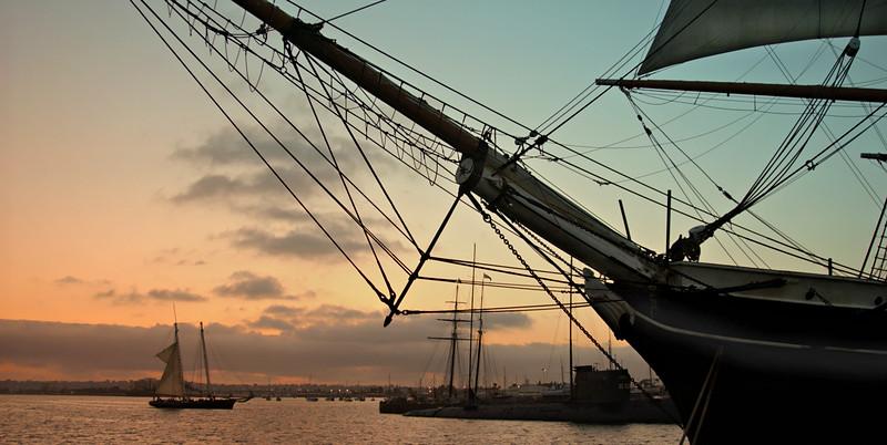 Old ship in San Diego harbor