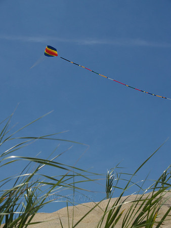 Colorful kite flying high at the seashore, Ocean Grove, New Jersey
