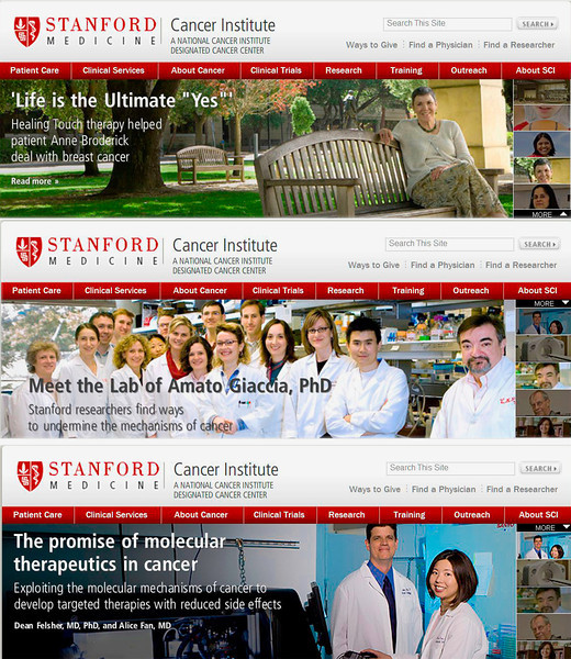 Stanford Cancer Center website banners