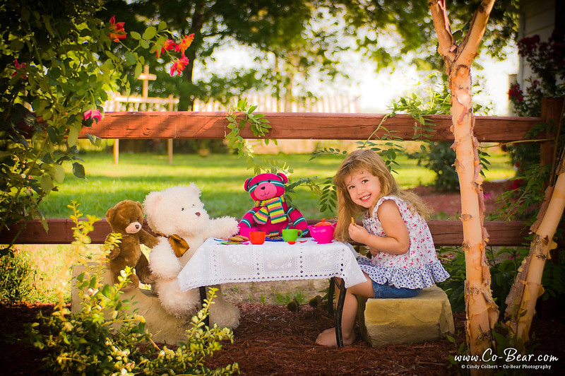 CoBear, Illinois, Kaydance Sneed, Love Hugs Laughter, Pike County, Pittsfield, child photography, children kids portfolio, cobear, cookies, facebook, flower, flower garden, girl, nebo, outdoor, party, portrait, smile, tea, tea party, teddy bear